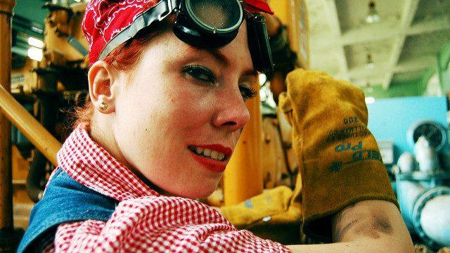 Image illustrating pay discrimination - woman at work