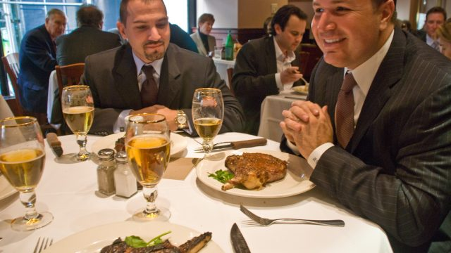 Image of business lunch illustrating alcohol disciplinary