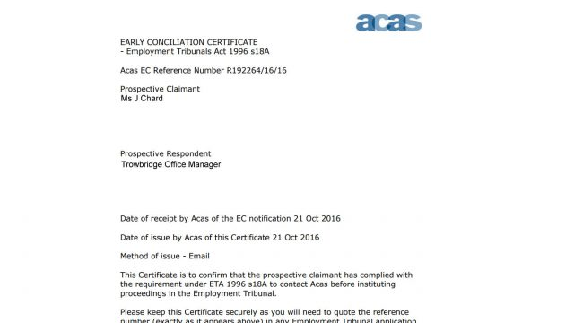 Acas early conciliation certificate